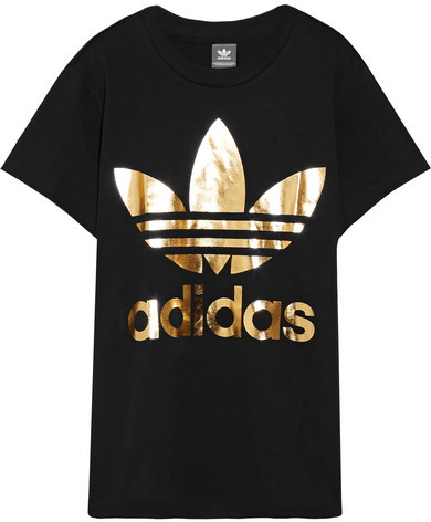 What to wear when you work from home: adidas Originals - Trefoil Metallic Printed Cotton-jersey T-shirt #vibealchemist