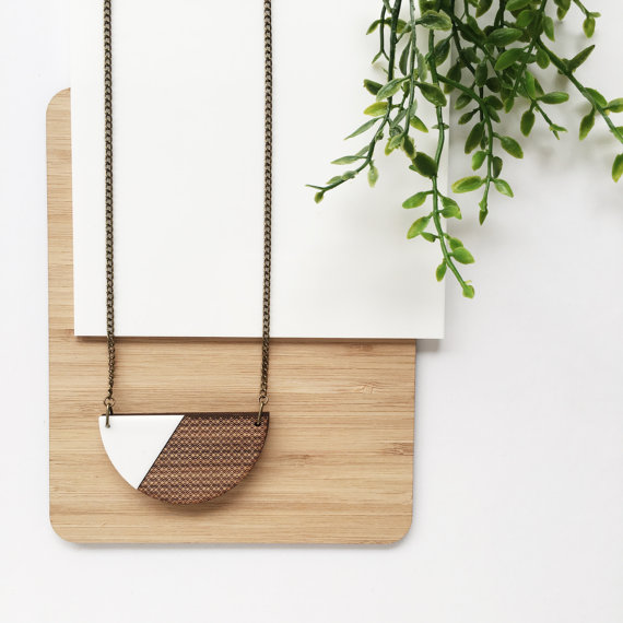 Semi-circle necklace from OneHappyLeaf. Featured in Handmade Jewelry You'll Covet on #VibeAlchemist