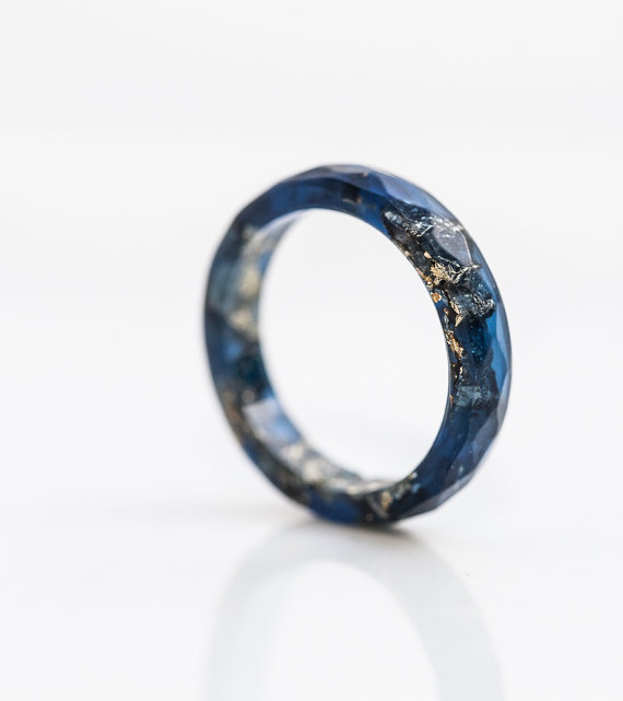 Deep blue resin ring from daimblond. Featured in Handmade Jewelry You'll Covet on #VibeAlchemist