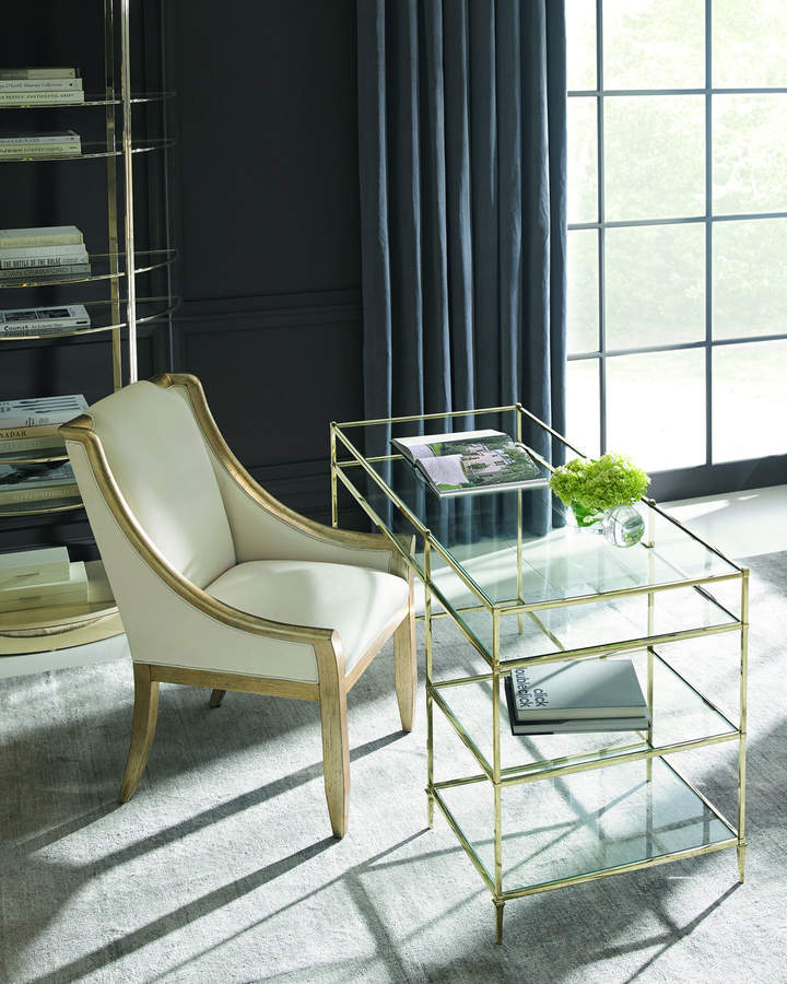 Caracole Whisper of Gold Glass Writing Desk