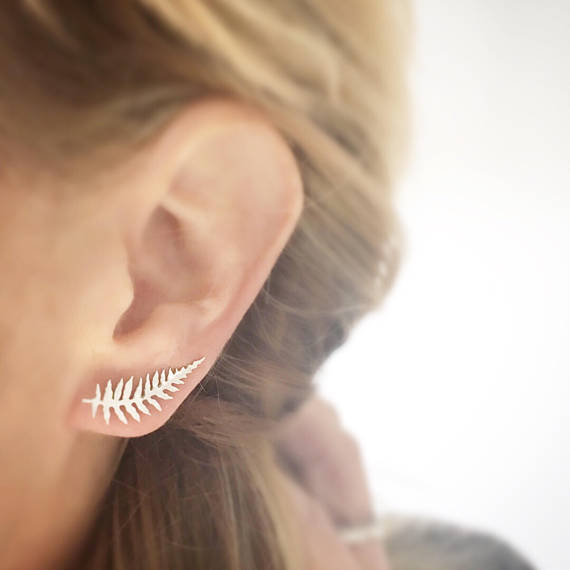 Plantspiration - for plant lovers: Featuring this Fern Leaf Ear Climber in Silver by LovebirdJeweller on #VibeAlchemist www.vibealchemist.com #tropical