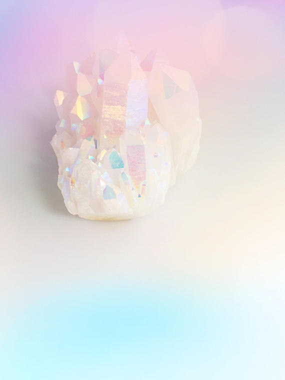 Gift Guide for Crystal Lovers: Gorgeous Extra Large Statement Opal Aura Quartz Crystal Cluster