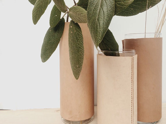 Plantspiration - for plant lovers: Featuring this Leather vase vessel from goodmedicinestore on #VibeAlchemist www.vibealchemist.com #botanical