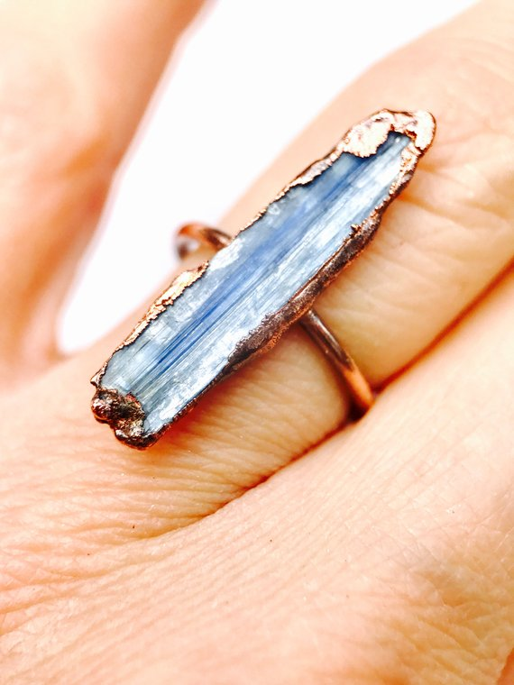 Gift Guide for Crystal Lovers: Raw Blue Kyanite Ring