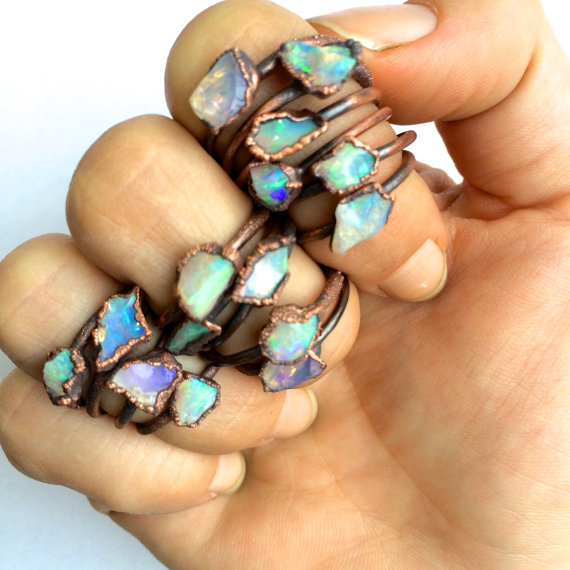 Gift Guide for Crystal Lovers: Raw opal rings
