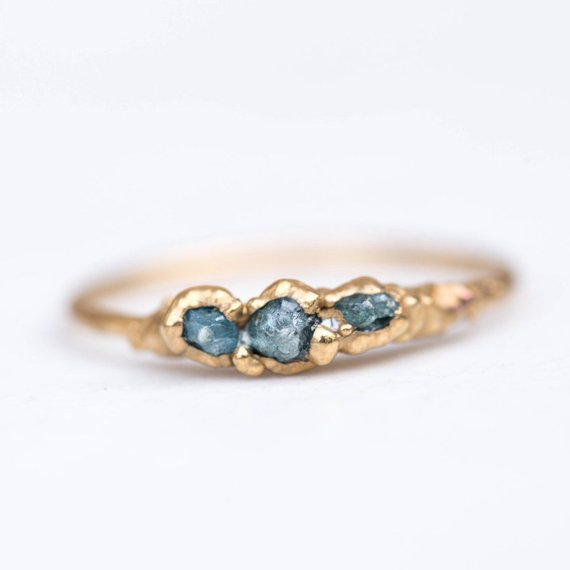 Gift Guide for Crystal Lovers: Triple Raw Blue Diamond Ring