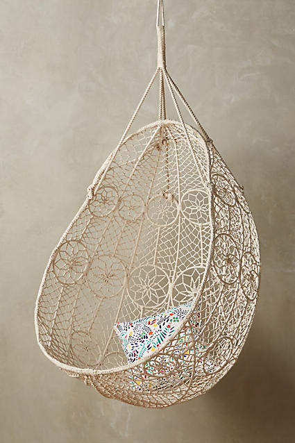 living room inspiration: Anthropologie Knotted Melati Hanging Chair