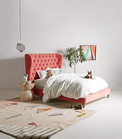 Bedroom decor ideas: Anthropologie Tufted Wingback Bed