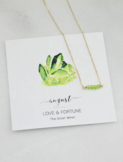 Gifts for Virgos: Get her this Peridot necklace from TheSilverWren! #giftsforvirgos #virgos #virgojewelry