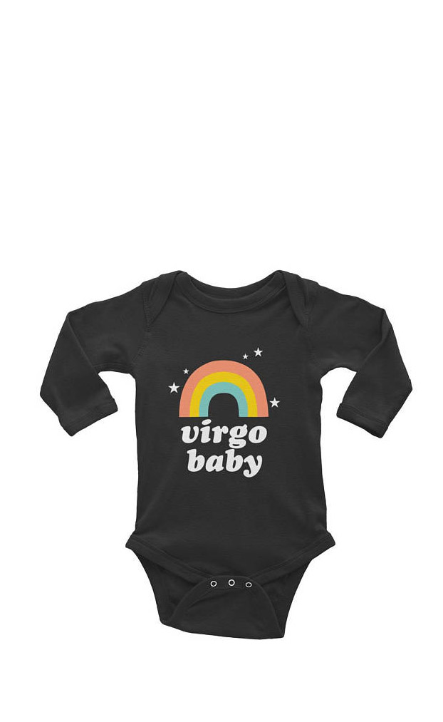 Gifts for Virgos: If your favorite Virgo is a newborn get them this Virgo Baby Onesie from TypeBree! #giftsforvirgos #virgos #virgojewelry #babyvirgo