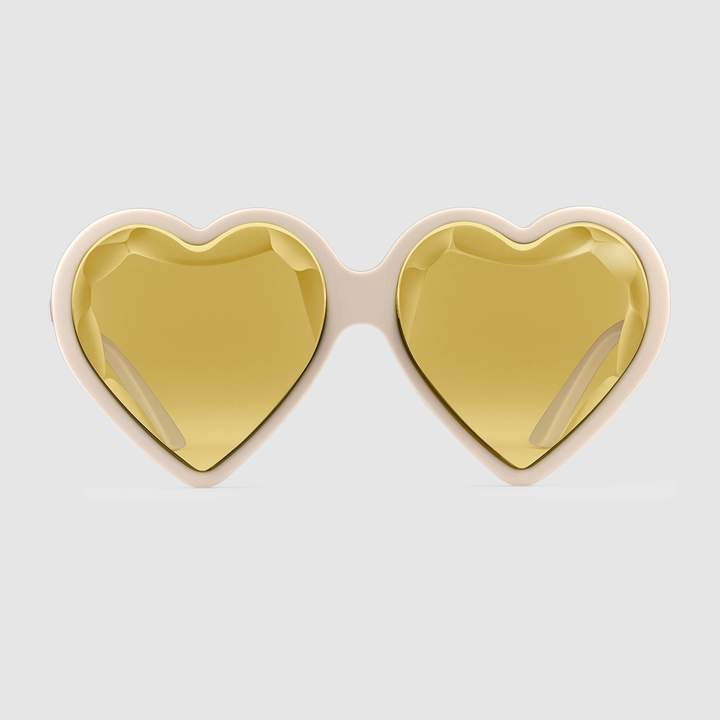 Bold Sunglasses: Gucci - Heart-frame acetate sunglasses. #sunglasses #Gucci #boldsunglasses #yellow #heartshapedsunglasses