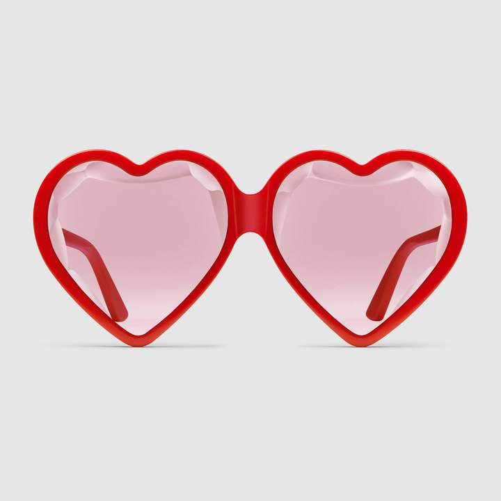 Bold Sunglasses: Gucci - Specialized fit heart-frame acetate sunglasses. #sunglasses #Gucci #boldsunglasses #heartshapedsunglasses