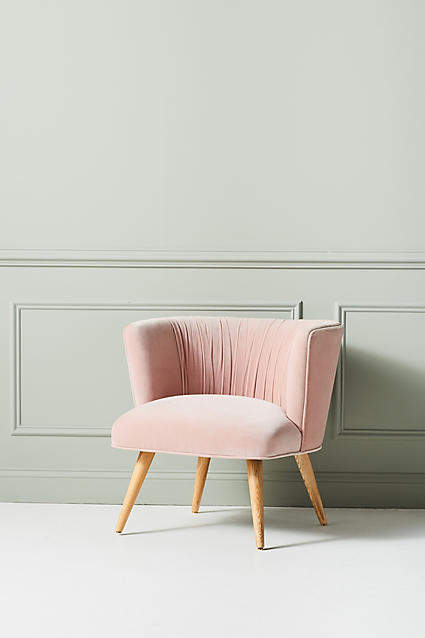 Blush pink home decor ideas from Vibe Alchemist: Anthropologie Anita Occasional Chair #vibealchemist #pink #blushpink #homedecor