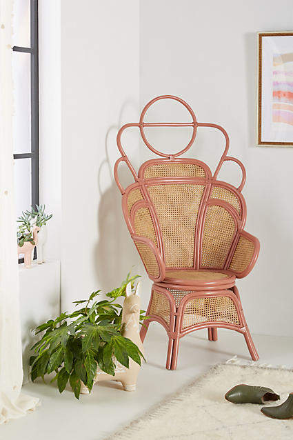 Blush pink home decor ideas from Vibe Alchemist: Anthropologie Caterina Chair #vibealchemist #pink #blushpink #homedecor