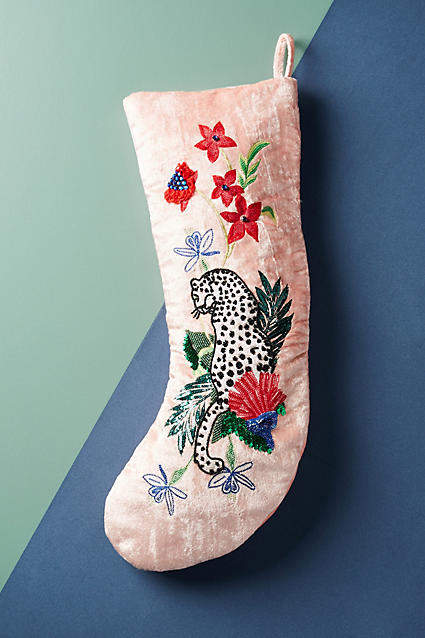 Blush pink home decor ideas from Vibe Alchemist: Anthropologie Embellished Velvet Stocking #vibealchemist #pink #blushpink #homedecor