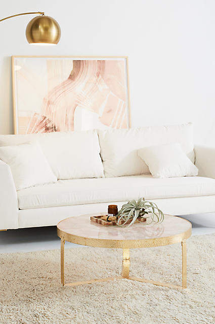 Blush pink home decor ideas from Vibe Alchemist: Anthropologie Pink Quartz Lirit Coffee Table #vibealchemist #pink #blushpink #homedecor