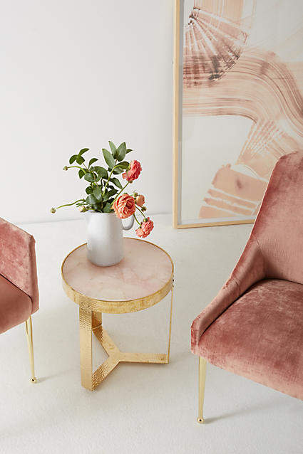 Blush pink home decor ideas from Vibe Alchemist: Anthropologie Pink Quartz Lirit Side Table #vibealchemist #pink #blushpink #homedecor