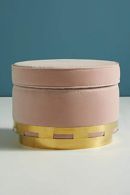 Blush pink home decor ideas from Vibe Alchemist: Anthropologie Velvet Carousel Ottoman #vibealchemist #pink #blushpink #homedecor