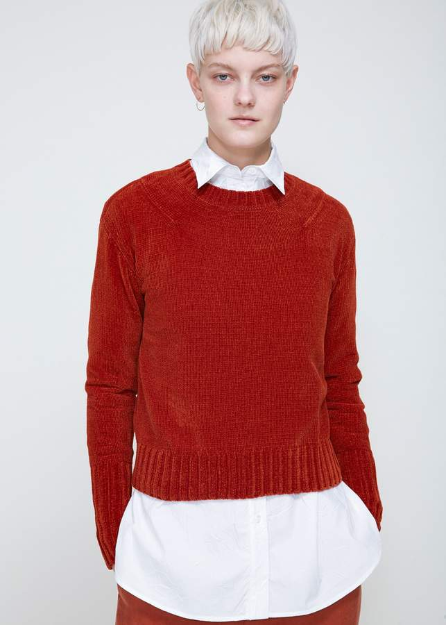 Sweater Weather: Fully fashioned pullover in plush red rust-colored chenille. Ribbed at neck, cuffs, and hem. Tonal stitching. #redsweater #sweaterweather