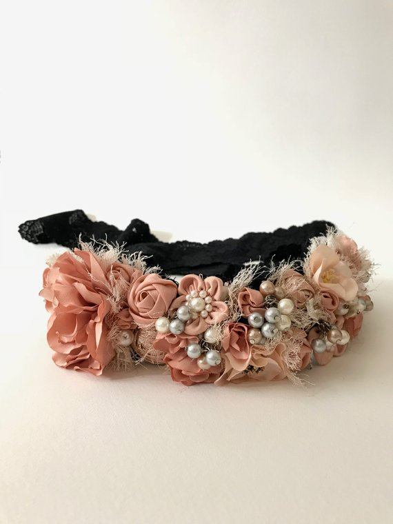 Headbands are back in style! Handcrafted coral floral headband.
